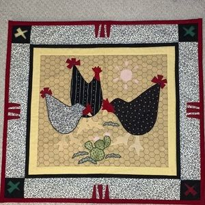 Artisan Crafted Chicken Quilt Mat Or Wall Hanging